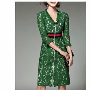 StyleWe V Neck Green A-Line 3/4 Sleeve Midi Dress